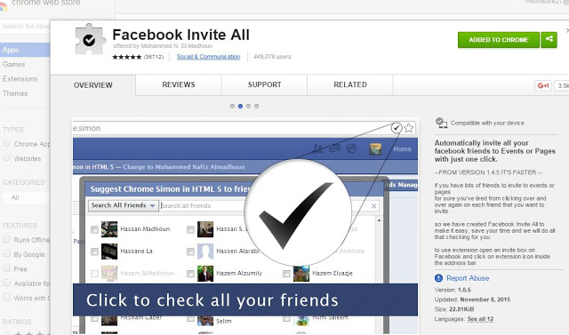 invite all friends code firefox