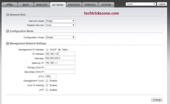 UBNT Rocket M5 LAN settings