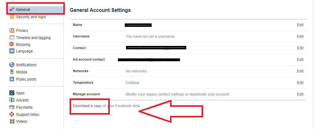 facebook account delete option