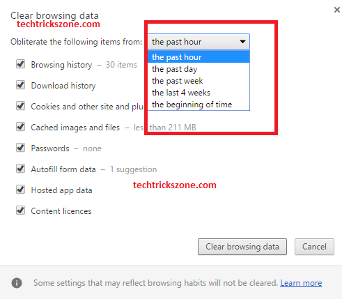 Select History Time to Clear in chrome