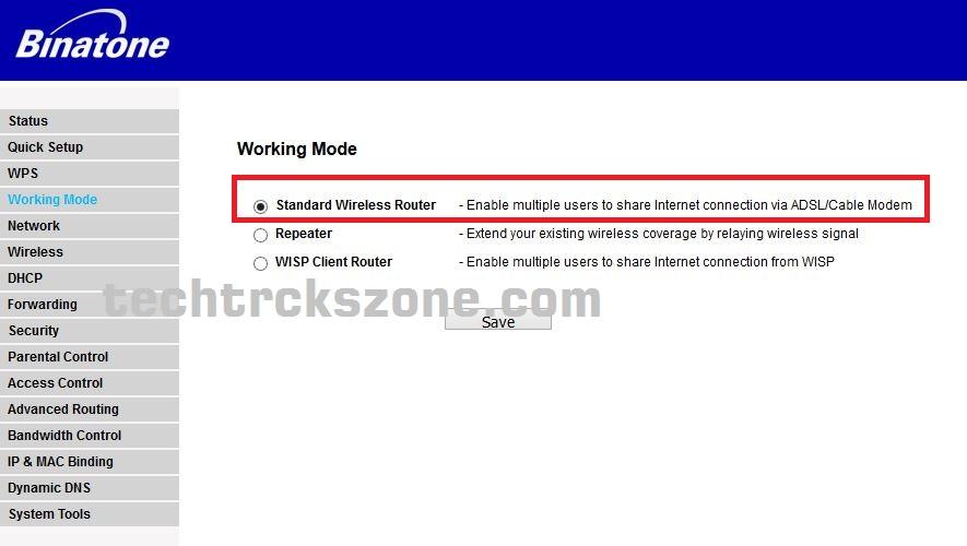 binatone wifi router operation mode settings