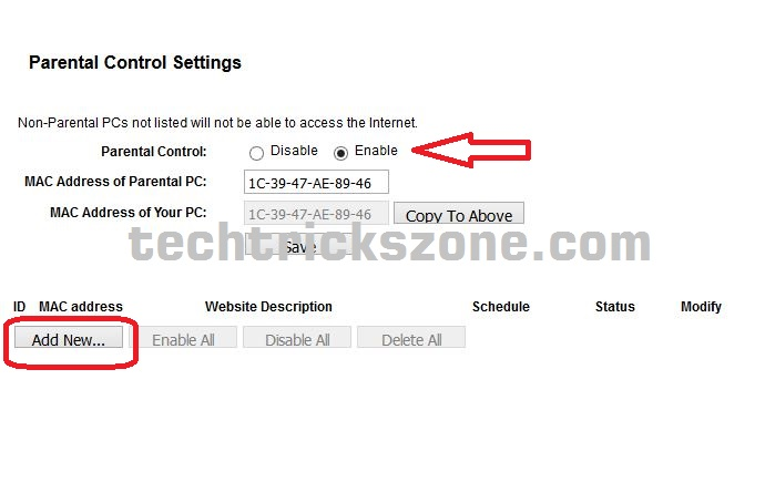 Binatone WR1505 N3 Parental control for website block