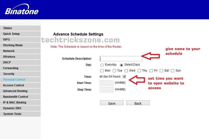 create website block rules in binatone router