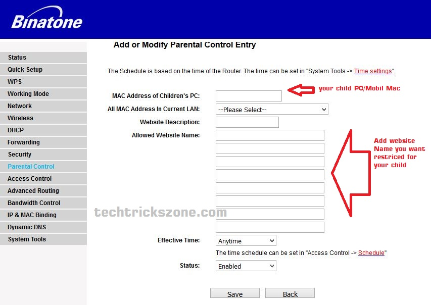 Website Add to parental control in binatone router