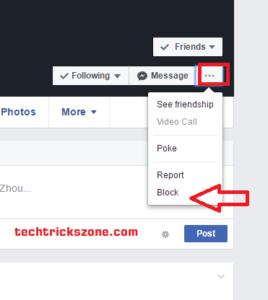 Facebook friend block from profile