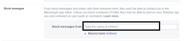 facebook block chat messages