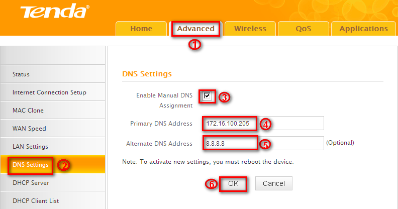 Tenda N301 DNS settings