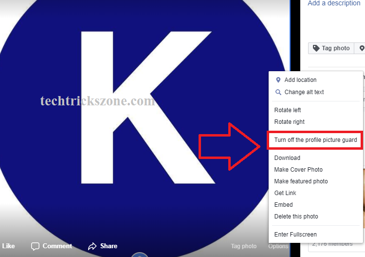 facebook profile picture guard option not available