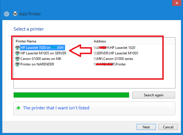 Wired Printer not showing up on Wireless Network