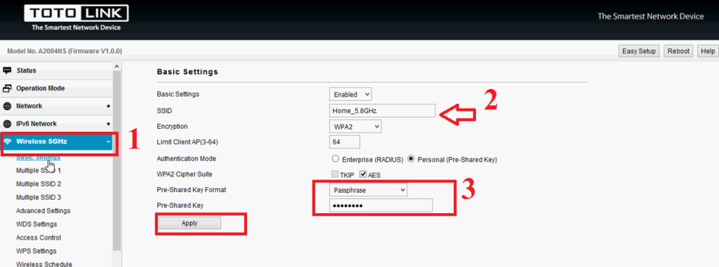 totolink router configuration