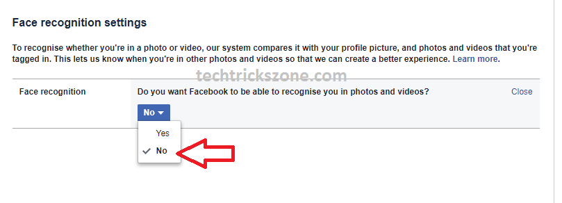 How to turn off facial recognition in Facebook photos
