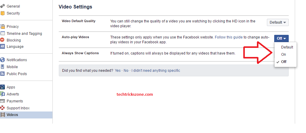 facebook video settings on of