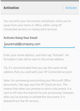 Hp ePrint Application Activation from Android