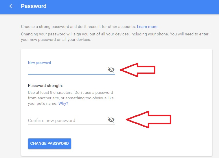 Set Gmail New Password Option