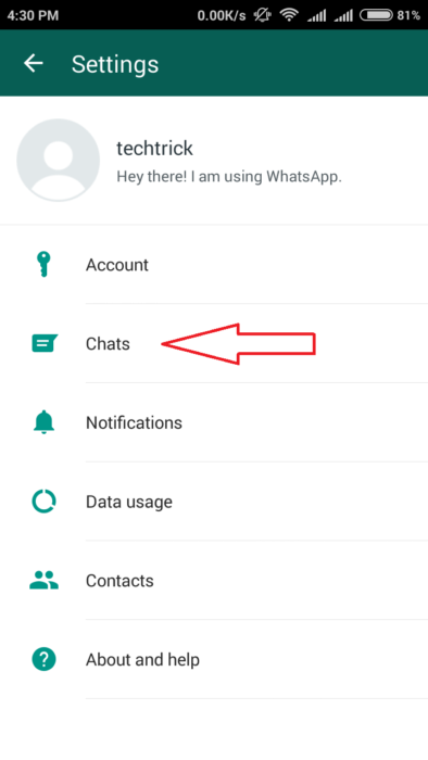 whatsapp chat setting