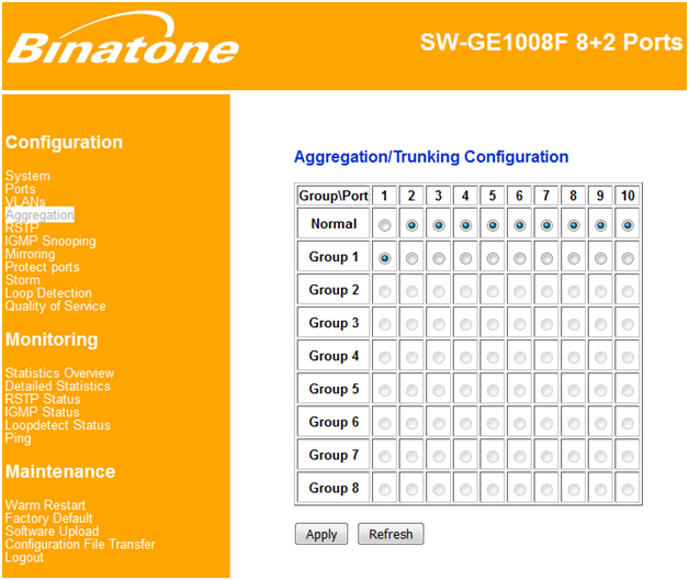 How to configure binatone managed switch