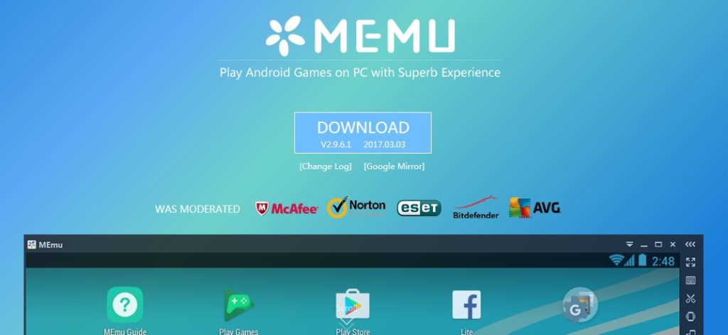 Memu Application player in Windows