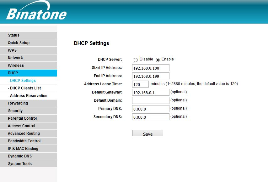 Binatoen WR3000N DHCP Enable option