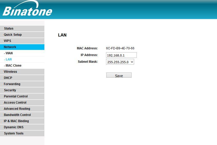 Binatone WR3005 router Mode configuraiton