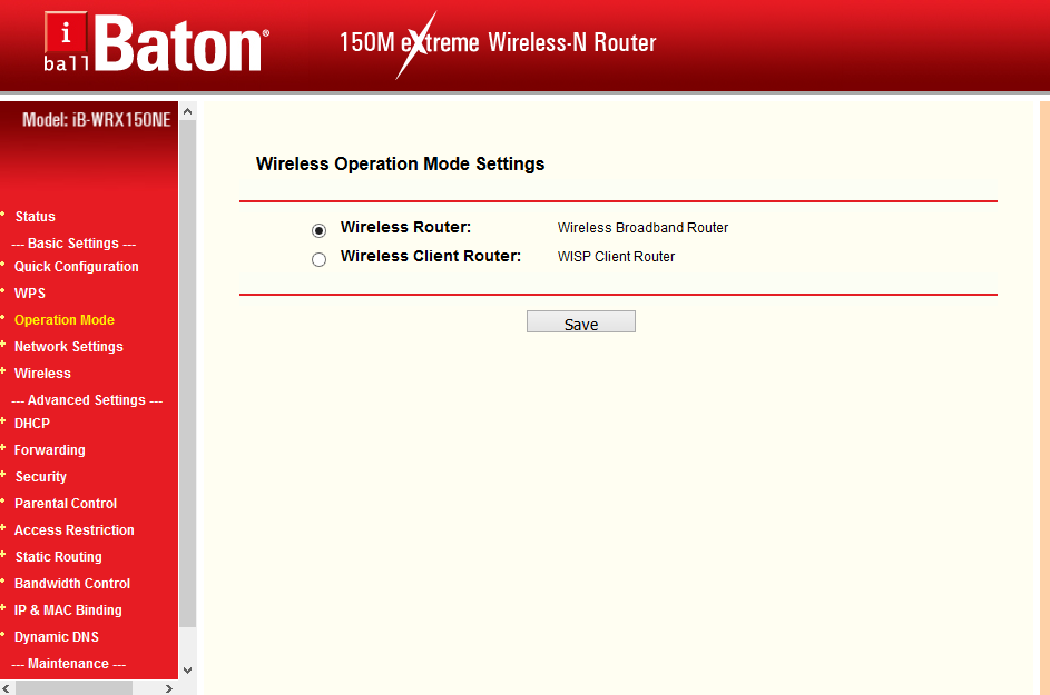 I ball Router Change Operation Mode in WiFi router