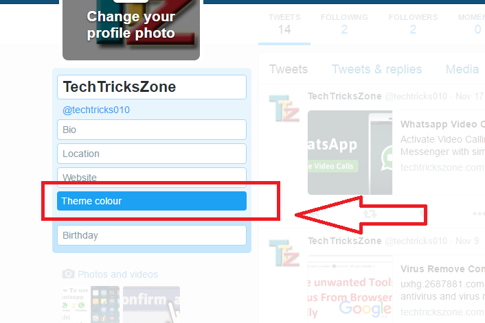 Choose Theme Colour in Twitter