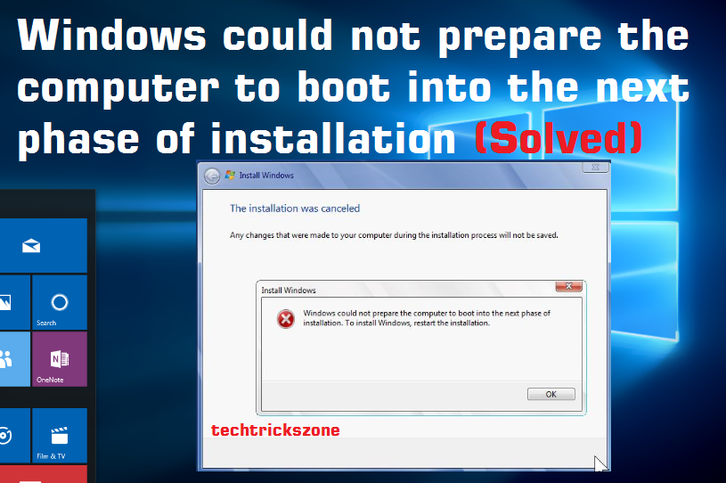 Windows could not prepare the computer to boot into the next phase of installation