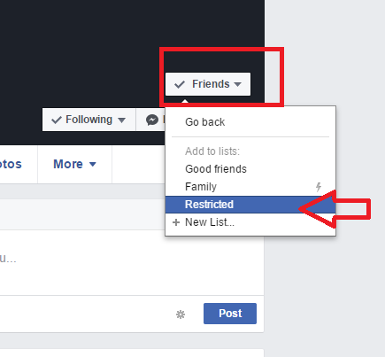 facebook friend restriction for post