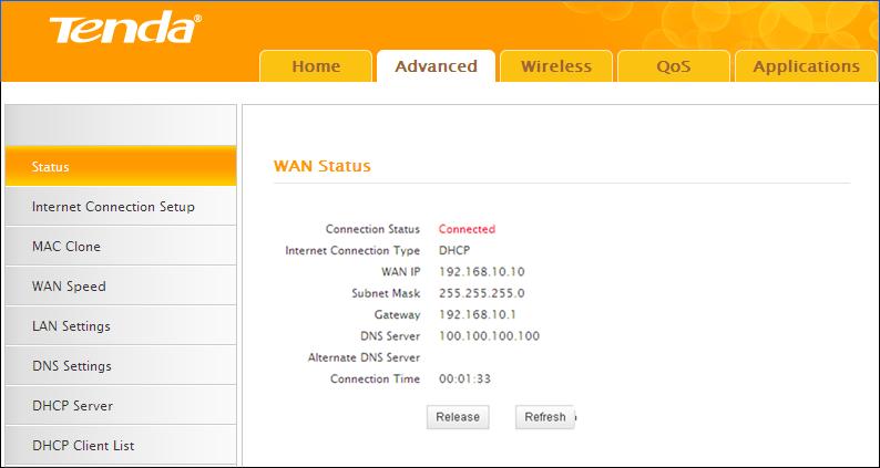 Tenda N301 WAN internet status