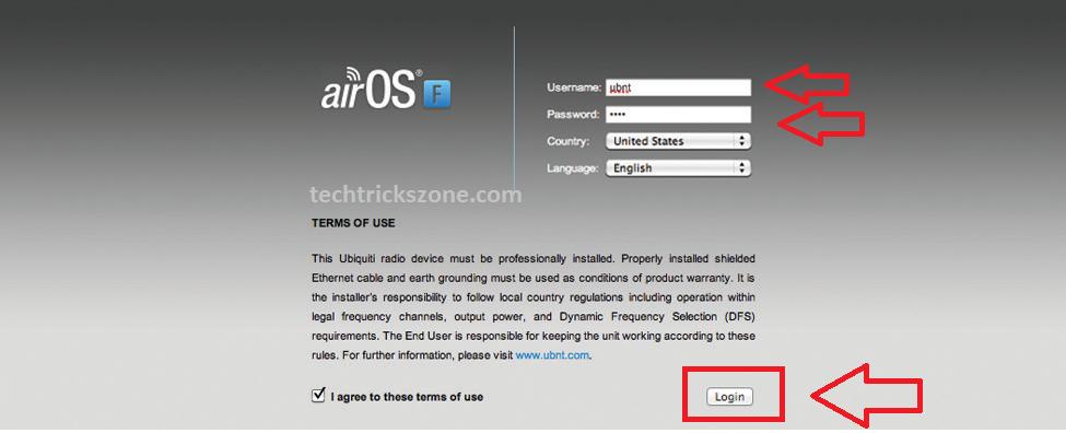 airFiber first time login IP Address