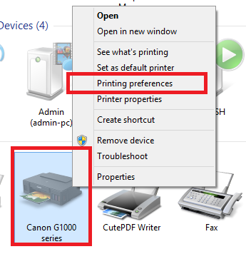Canon Pixma G1000 printing from android