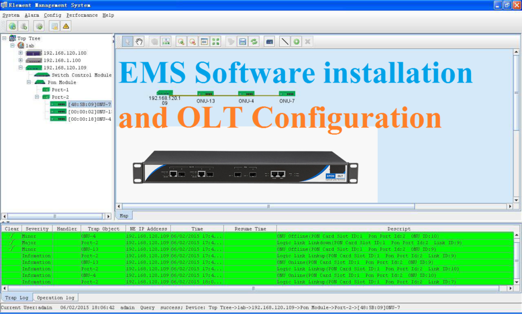 Fiber OLT EMS software installation