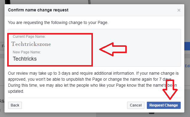 facebook page name change trick