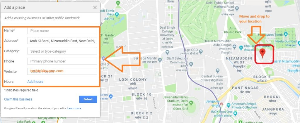 how to add location map to website