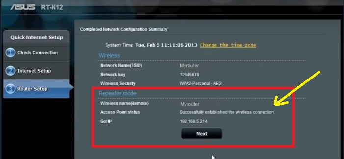 Asus wifi router repeater configuration wtih mobile