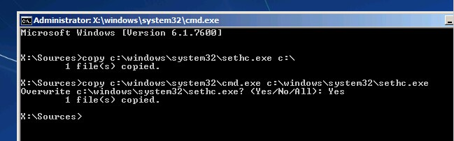 windows password reset command prompt