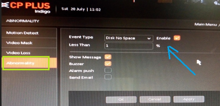 CP Plus NVr email notification settings for video loss