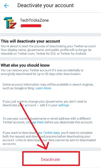 delete twitter account permanently on iphone