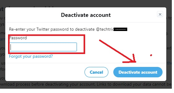 delete a twitter account without logging in