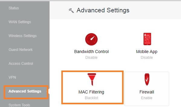 add mac address to access control list in iball