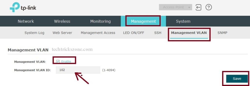 how to enable management vlan in tplink eap ceiling mount ap