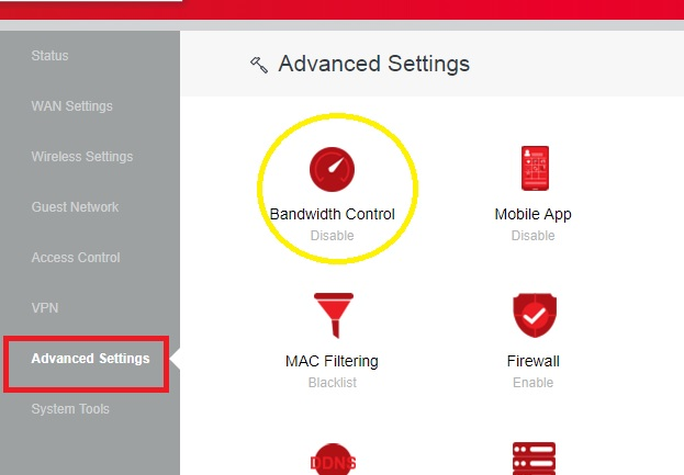 how to control bandwidth in iball router
