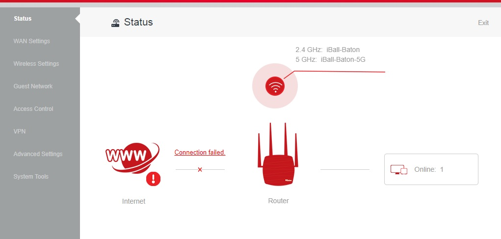 iball baton 150m wireless n router wifi settings