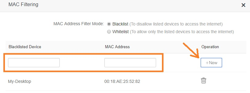 how to use access list to block mac address in home wifi