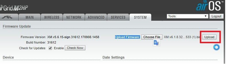 UBNT bullet m2hp firmware update