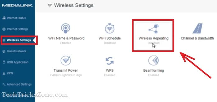 reset medialink router