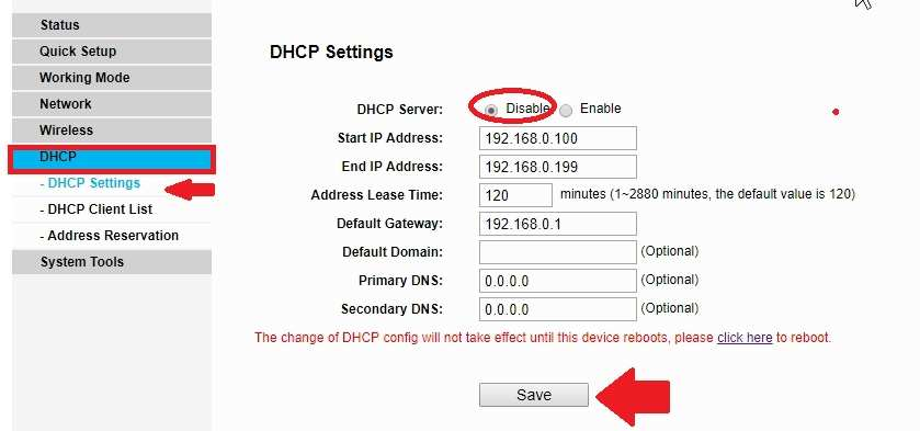 binatone dhcp server settngs