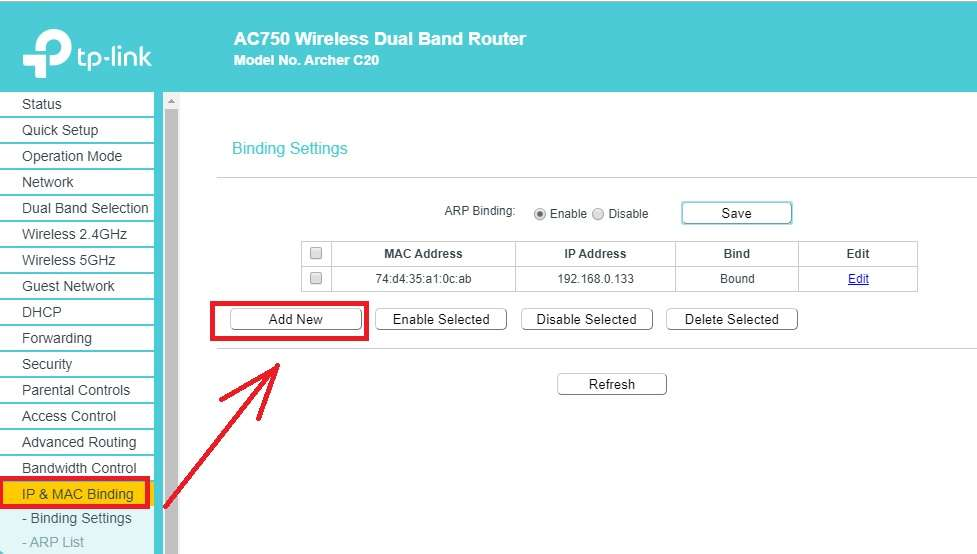 how to bind Mac address to IP address in tp-link ac750