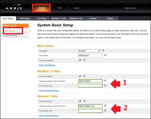 arris router reset