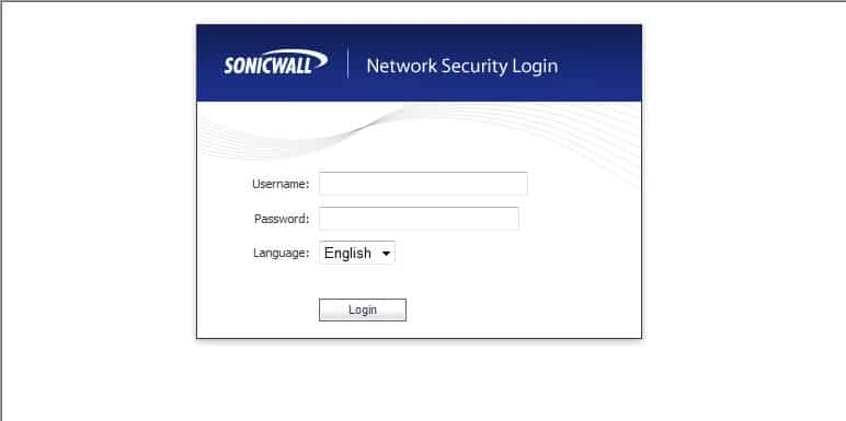 Sonic wall security device login